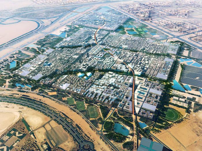 Artist Impression- Aerial View of Proposed Master plan of Masdar City (Eastern Orientation)