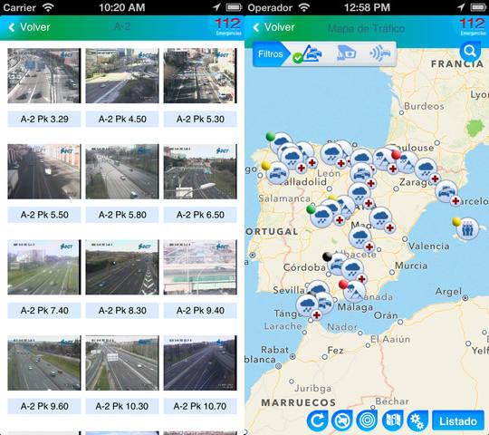 Capturas de pantalla de la aplicación DGT
