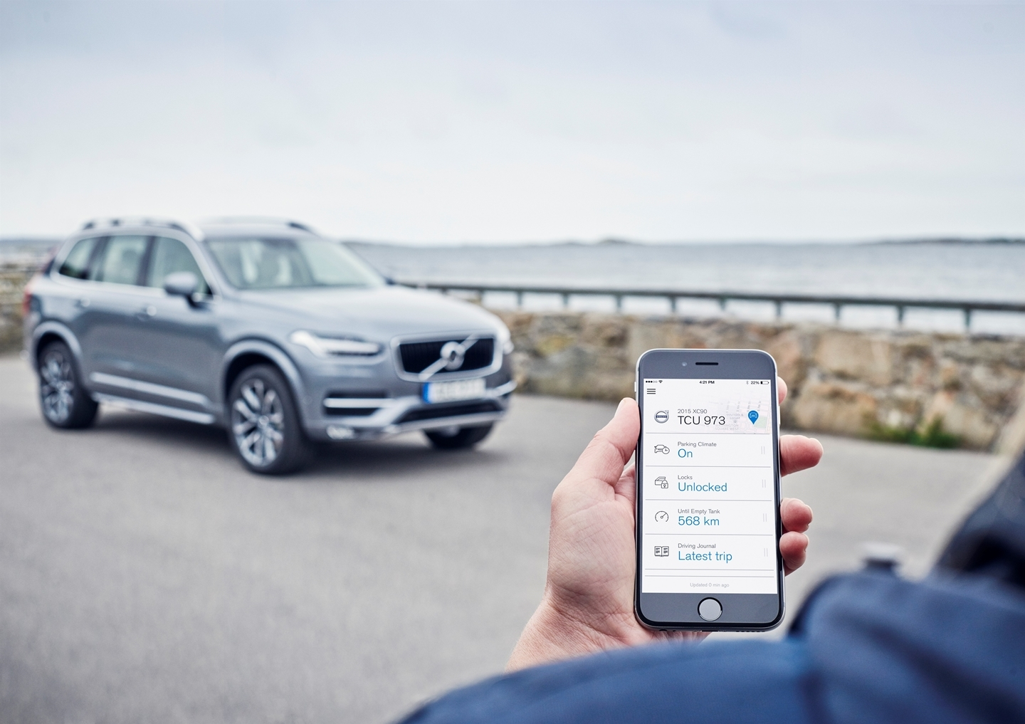 Volvo On Call app in an iOS phone